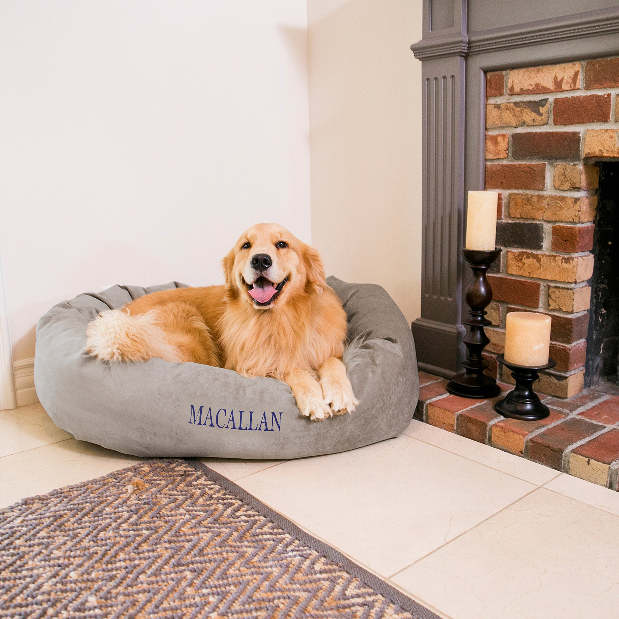 Majestic Pet Personalized Bagel Dog Bed - Machine Washable - Soft Comfortable Sleeping Mat - Durable Supportive Cushion Custom Embroidered - available replacement covers - Medium Silver Grey
