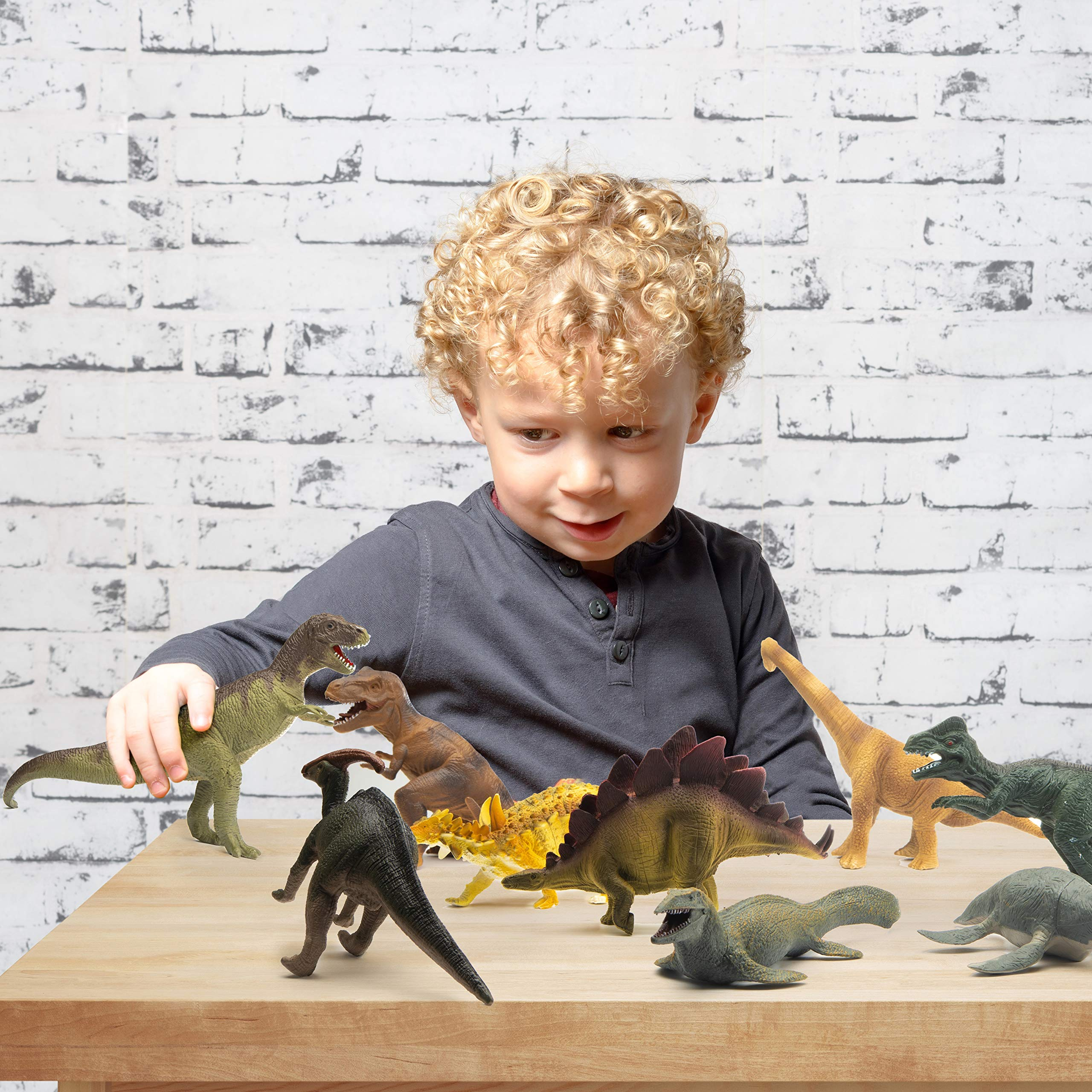 Prextex Realistic Looking 10'' Dinosaurs Pack of 12 Large Plastic Assorted Dinosaur Figures by Prextex (Image #7)