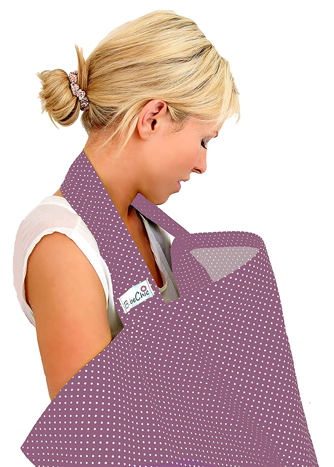 BebeChic.UK * Top Quality Oeko-Tex® Certified 100% Cotton * Breastfeeding Covers * Boned Nursing Tops - with Storage Bag - plum / ivory dot BebeChic Limited plum01