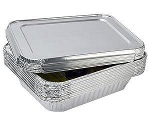 """eHomeA2Z Aluminum Foil Pans With Lids Half Size 10 Pack 9"""" x 13"""""""