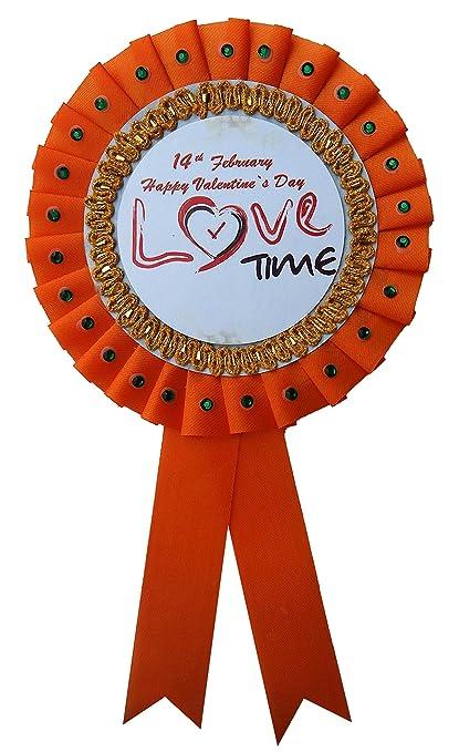 Buy LTM Happy Valentines Day Ribbon Badges Orange (Pack of 1