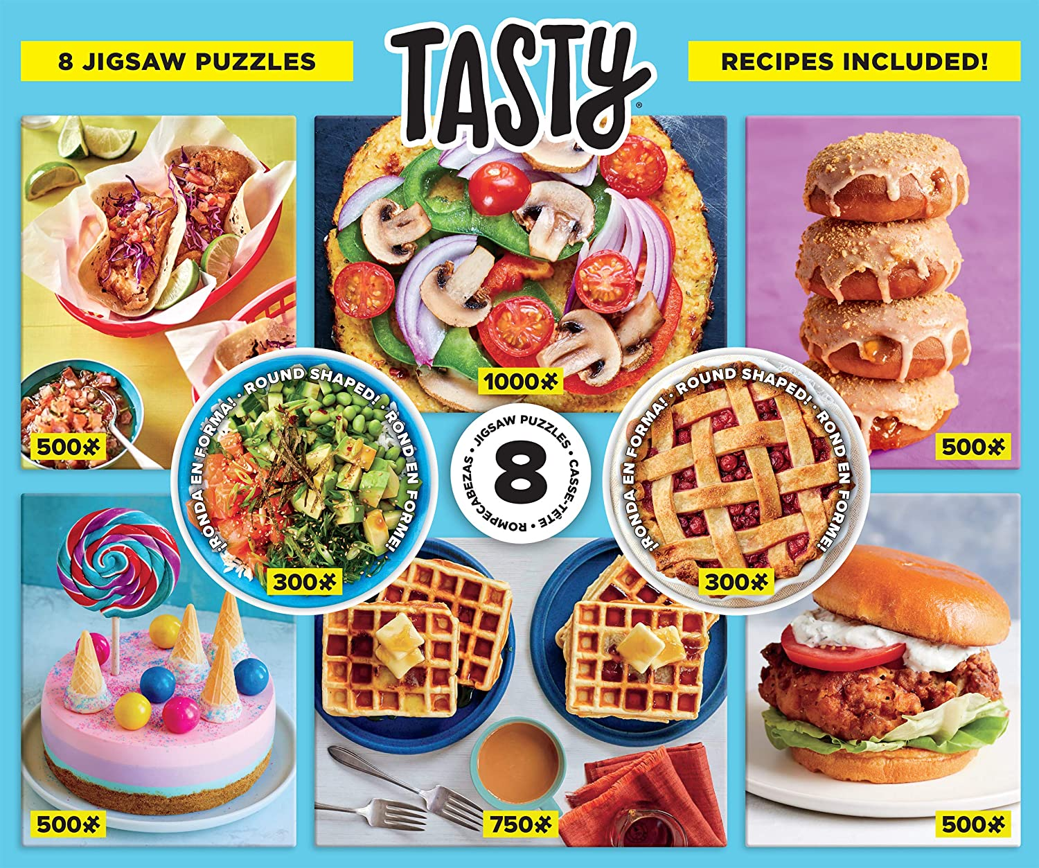 Ceaco - Tasty 8 in 1 Multipack Jigsaw Puzzle Bundle Set - (2) Round 300, (4) 550, (1) 750, (1) 1000 Pieces, Kids and Adults
