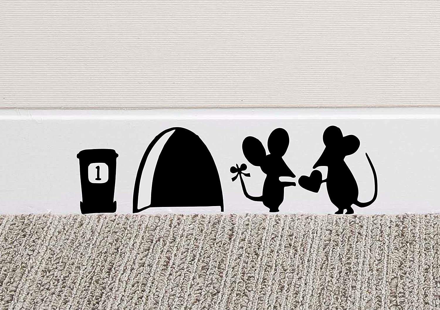 MOUSE LOVE HEART Wall Art Sticker Vinyl Decal Mice Home Skirting Board Funny Part 82