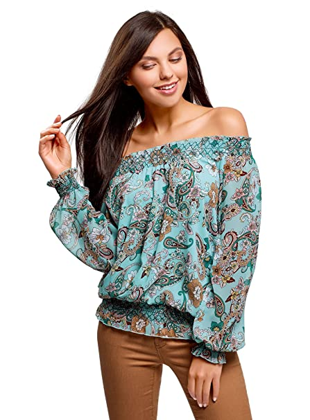 6f2d989acd76 oodji Ultra Women s Off-Shoulder Blouse in Flowing Fabric at Amazon Women s  Clothing store