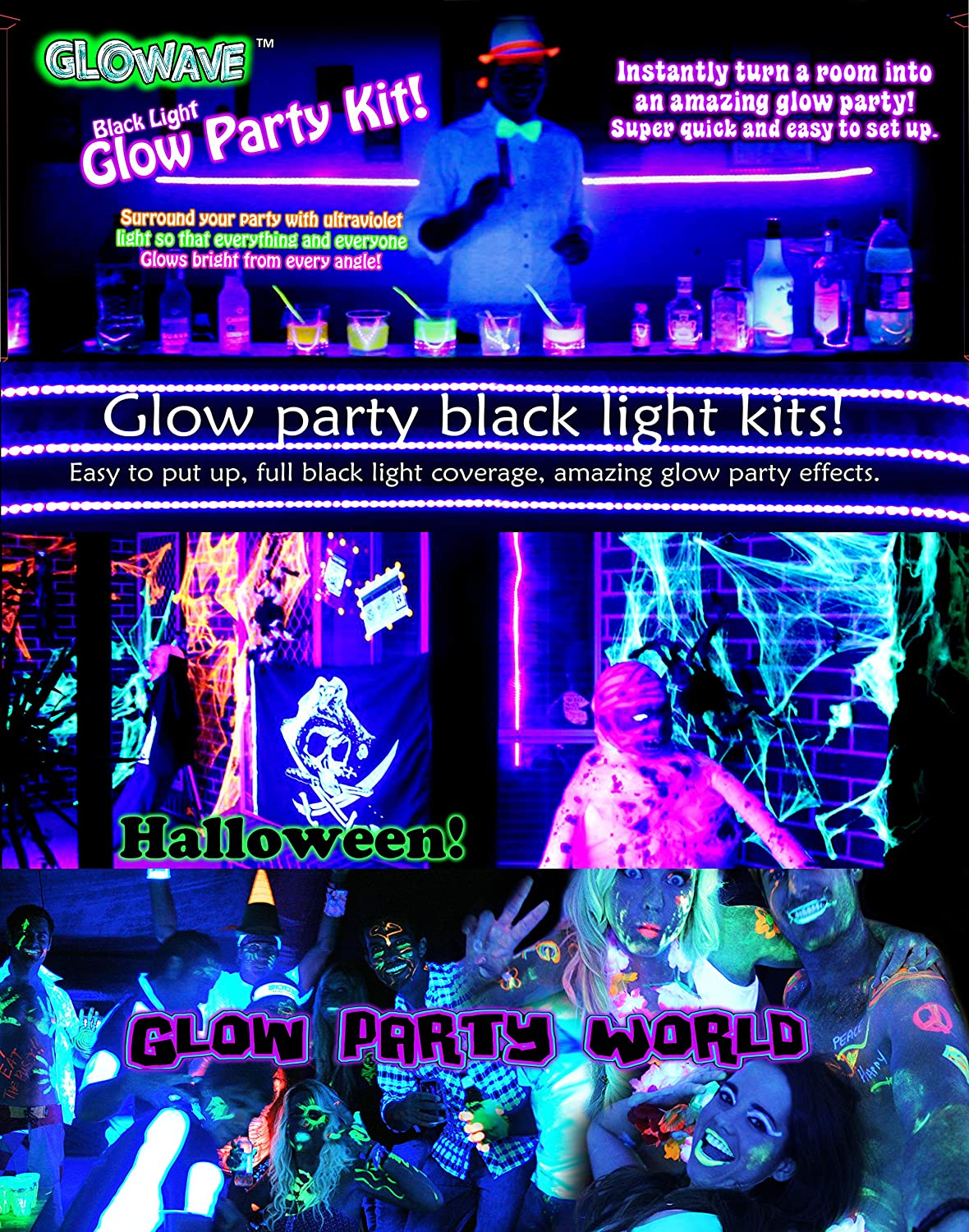 Glowave Black Light Glow Party Kit. 4 x 2m long UV lights with power adapters and plugs. Ultraviolet LED Blacklights (8m total). Black light UV light