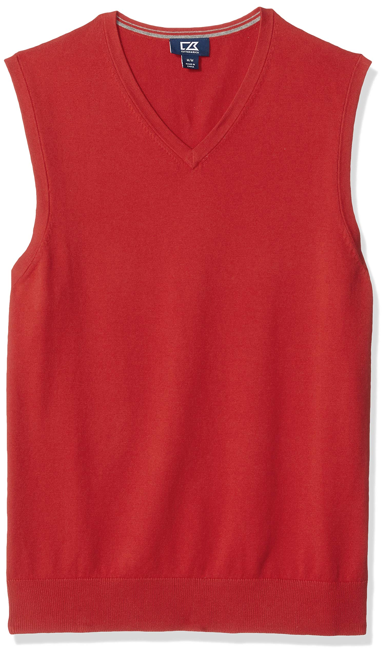 Cutter & Buck Men's Cotton-Rich Lakemont Anti-Pilling V-Neck Sweater Vest, red, XX-Large by Cutter