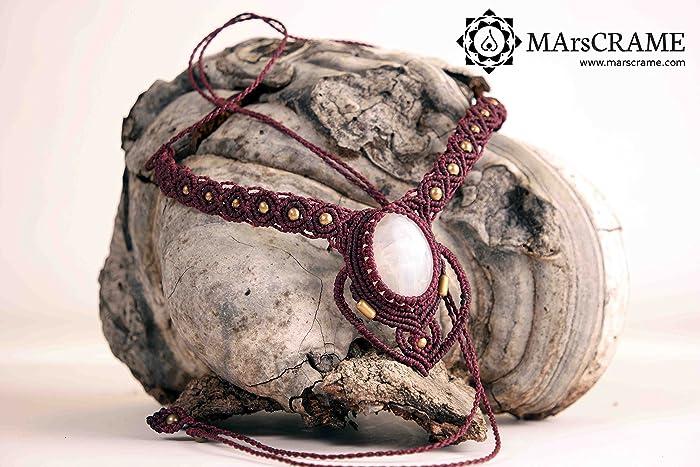 Collar macrame con Piedra de Luna, Collar Macrame, Macrame, gipsy,