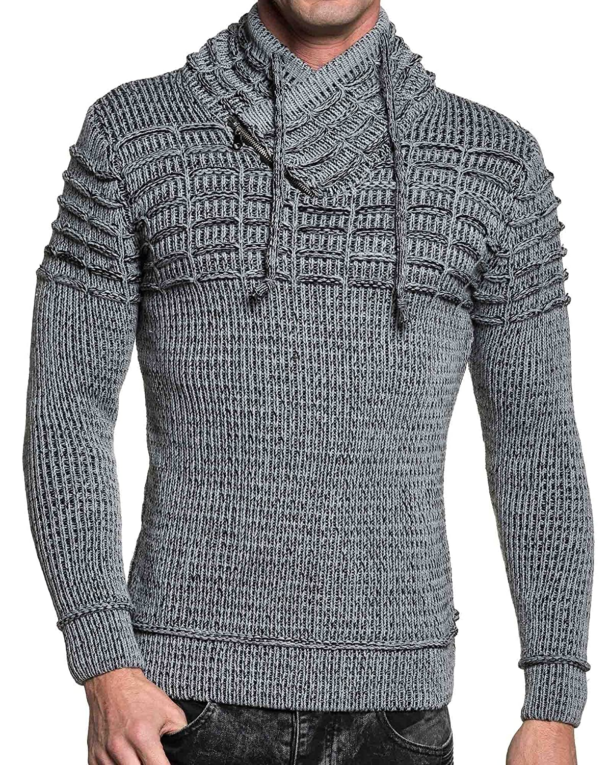 BLZ jeans - gray ribbed sweater and shawl collar black man