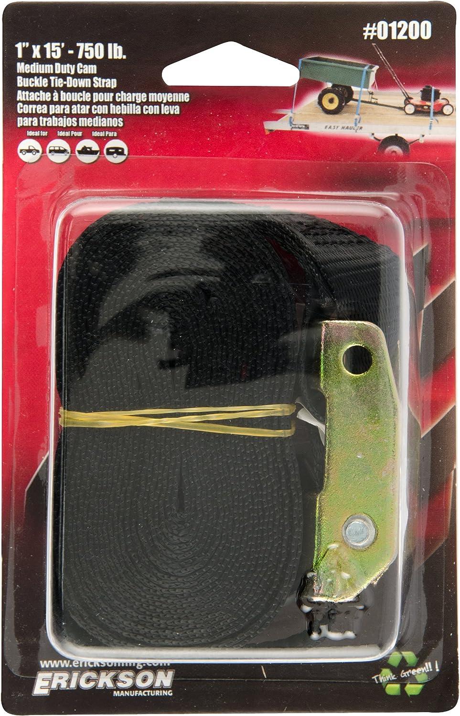 Erickson 01200 Black 1 x 15 Motorcycle//ATV Cam Buckle Tie-Down Strap