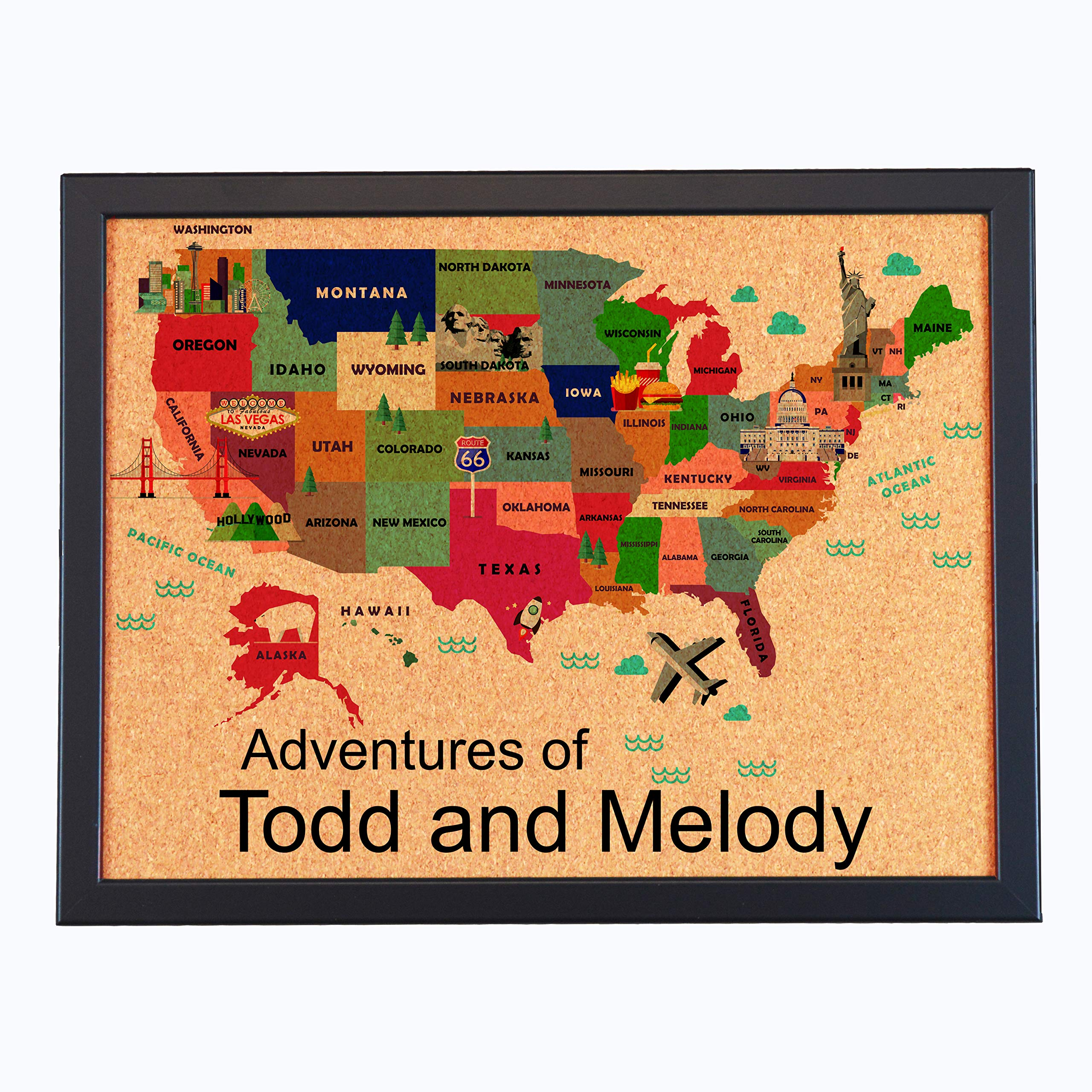 Custom Pushpin Board Map of USA with Landmarks, Adventures of (with Black Frame) by Lindsey Lou Patterns