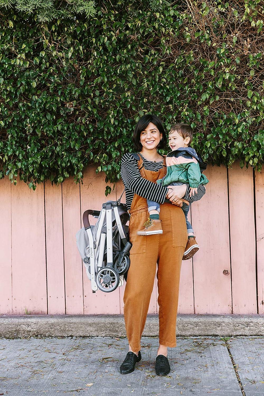 UPPAbaby Minu Stroller Charcoal Melange//Silver//Black Leather Jordan + Snack Tray for Minu