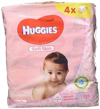 Huggies Soft Skin Toallitas para Bebé - Paquetes de 4 x 56 Unidades - Total: