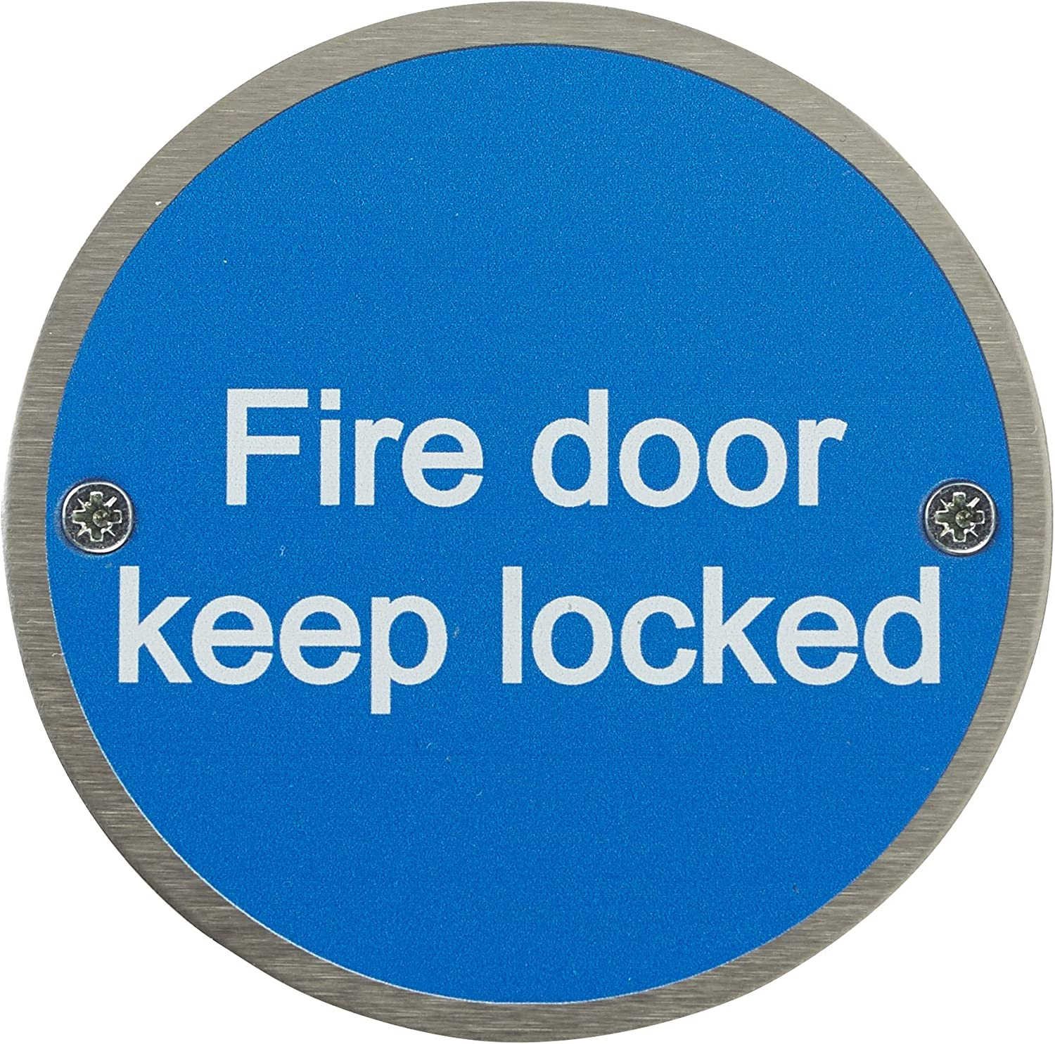 76mm Disc Stainless Steel Safety Sign Fire Door Guru/® Pack of 20 Fire Door Keep Locked Sign Fixings Included