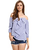 Milumia Women's Tie-bow Vertical Stripe Ruffle Off The Shoulder Blouse Top