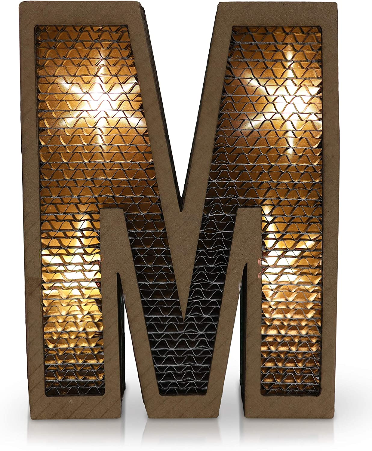 LED Light Paper Marquee Letter Decor - Letter M - Letter Wall Design with Battery Operated Lights - Large Decorative Letters for Bedroom, Kids Room, Living Room - Birthday Party Decoration