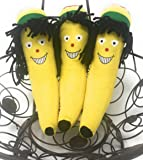 "3 Pack 7"" Rastafarian Crazy Hair Stuffed Banana Teddy Bear Stuffed Animal"