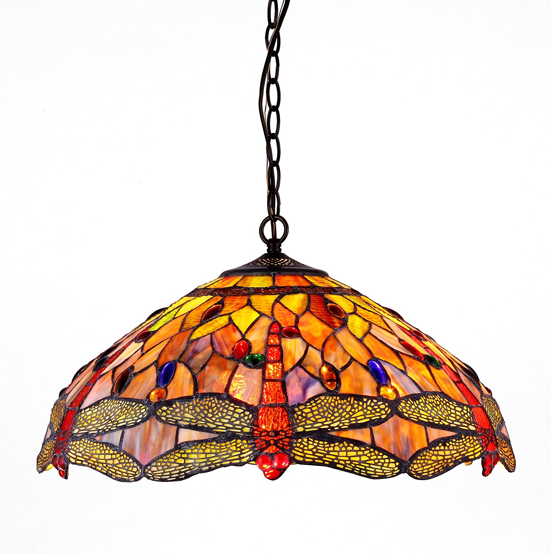 Chloe CH2825DB18-DH3 Tiffany-style Dragonfly 3-Light Ceiling Pendant  Fixture, 18-Inch - Tiffany Lamp Ceiling - Amazon.com