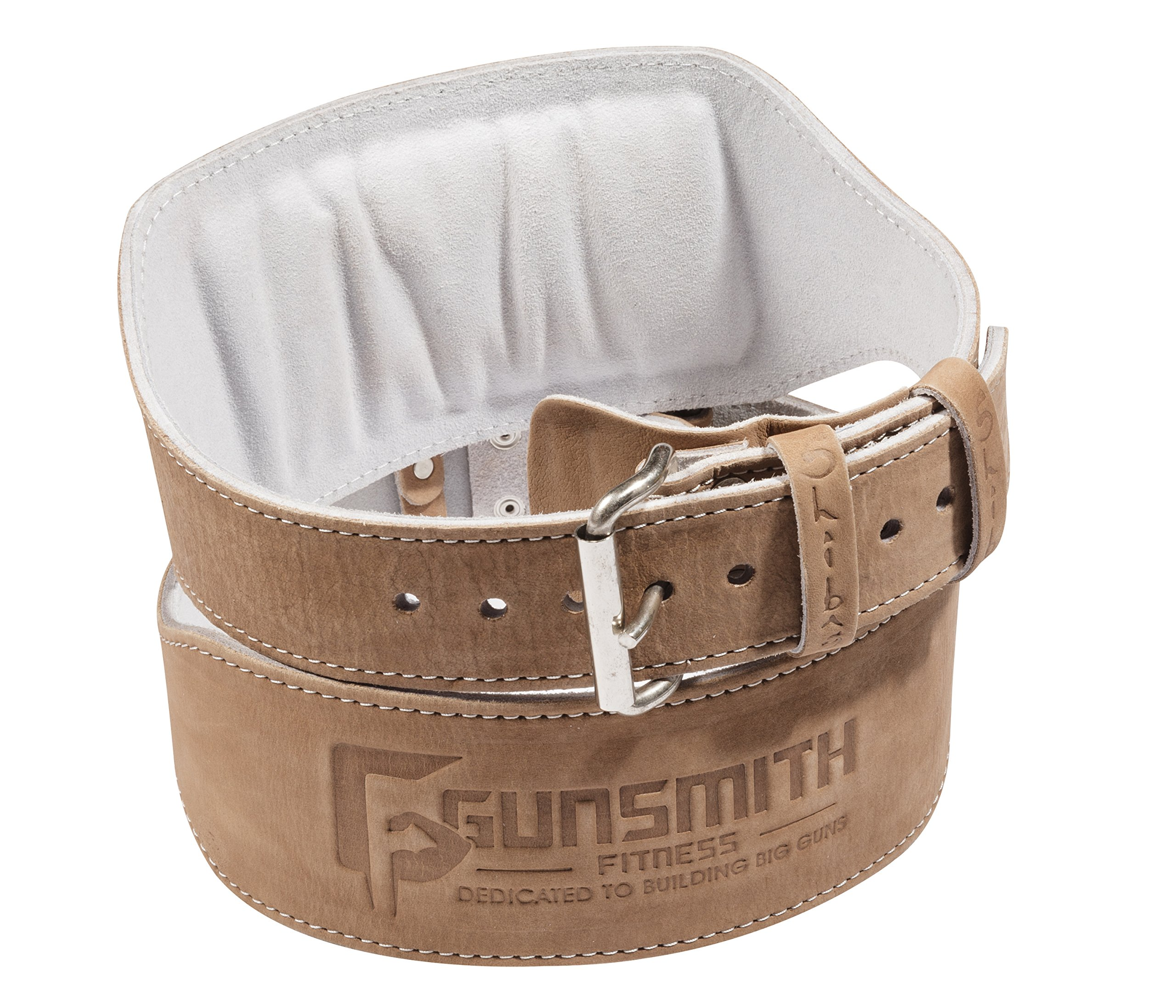 Gunsmith Fitness Premium 100% Real Genuine Leather Individually Handmade, Advanced Weight Lifting, Powerlifting & Bodybuilding (4-Inch width, Medium (Fits 29 - 33 inches))