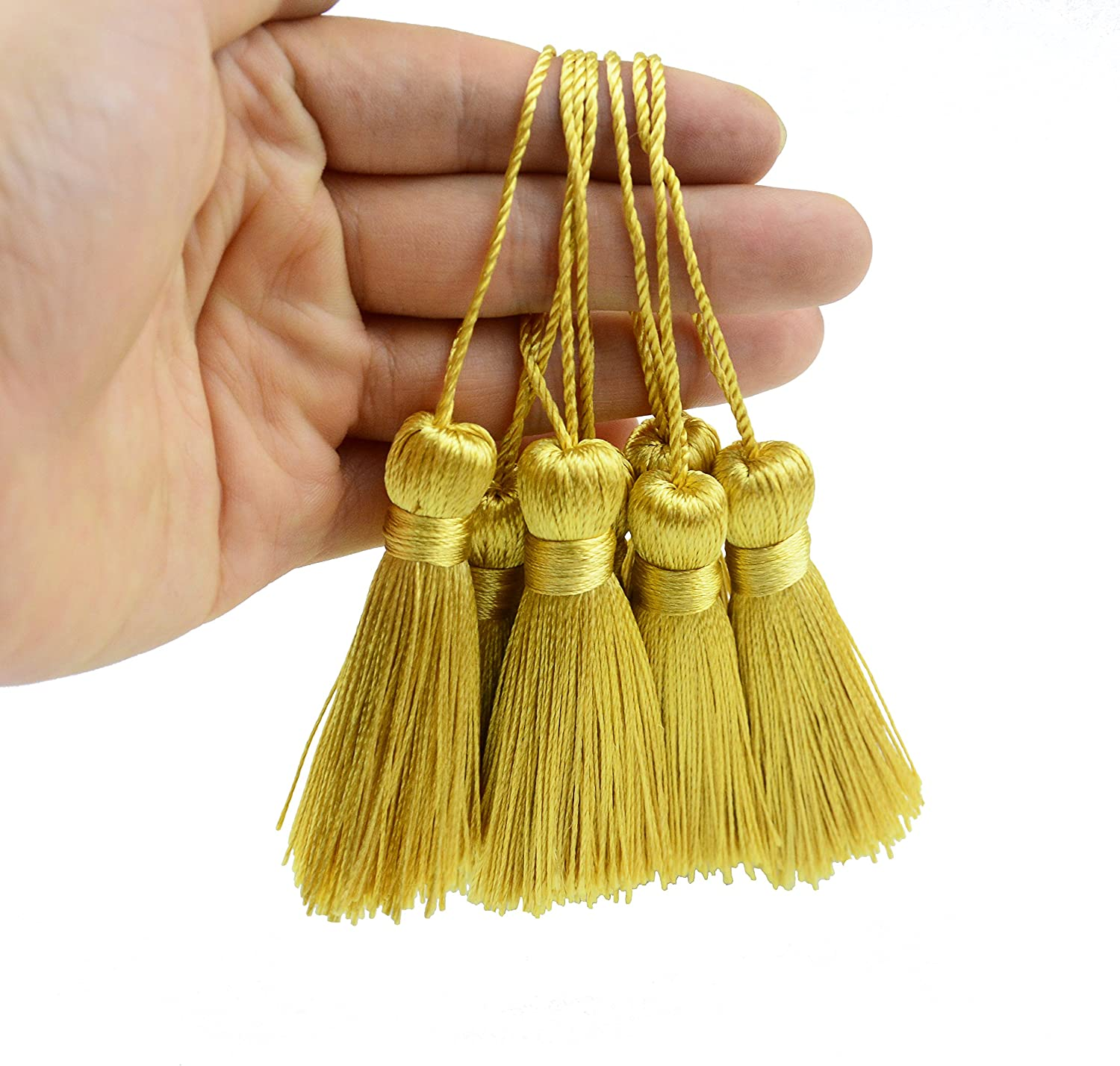 White Souvenir Bookmarks DIY Craft Accessory,Tags Makhry 20pcs 4.3 Inch Handmade Silky Floss Mini Tiny Craft Tassels with 2-Inch Cord Loop and Small Chinese Knot for Earrings
