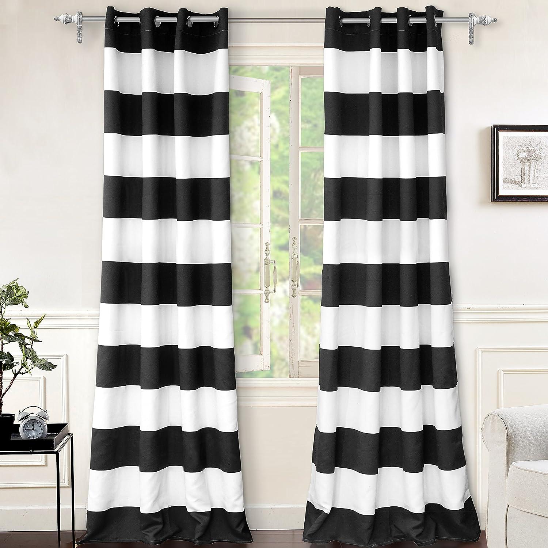 DriftAway Mia Stripe Room Darkening Grommet Unlined Window Curtains 2 Panels Each 52 Inch by 96 Inch Black