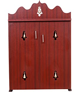 Mini Wooden Home Temple Cabinet with 5 Bells