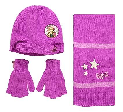Bratz - Ensemble bonnet, écharpe et gants - Fille Red-Violet Pink ... 4f1ed32f28b