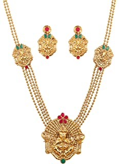 Amazon temple jewelry imitation temple short necklace delux touchstone south temple collection indian bollywood ganesh deity grand temple jewelry necklace set in antique gold aloadofball Gallery
