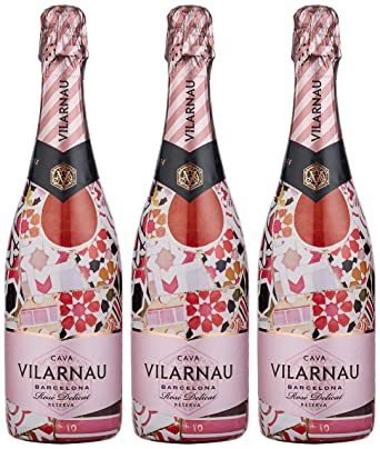 a26fbb25a48cc Vilarnau Barcelona Brut Reserva Rose (Case of 3)  Amazon.co.uk  Grocery
