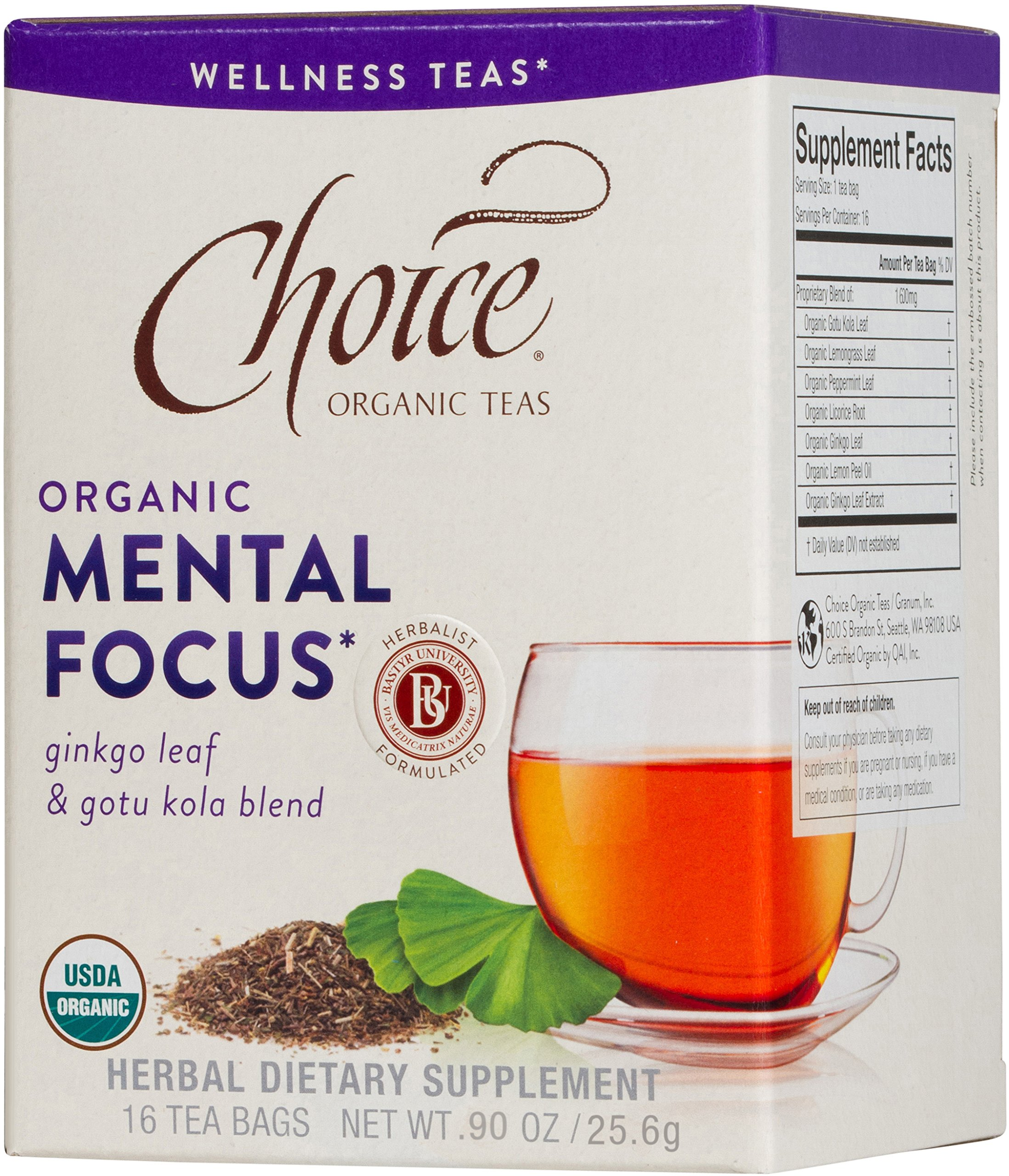 Choice Organic Teas, Mental Focus Wellness Tea, 16 Count