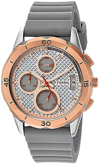 Fossil para Mujer Acero Inoxidable y Silicona Reloj, Color: Gris (Modelo: es4042