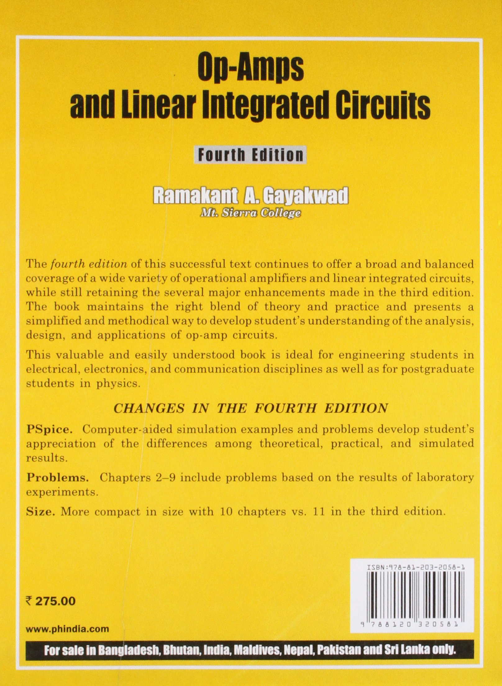 Op Amps And Linear Integrated Circuits 4th Ed Gayakwad Specialpurpose Opamp Electronics Questions Answers 9788120320581 Books