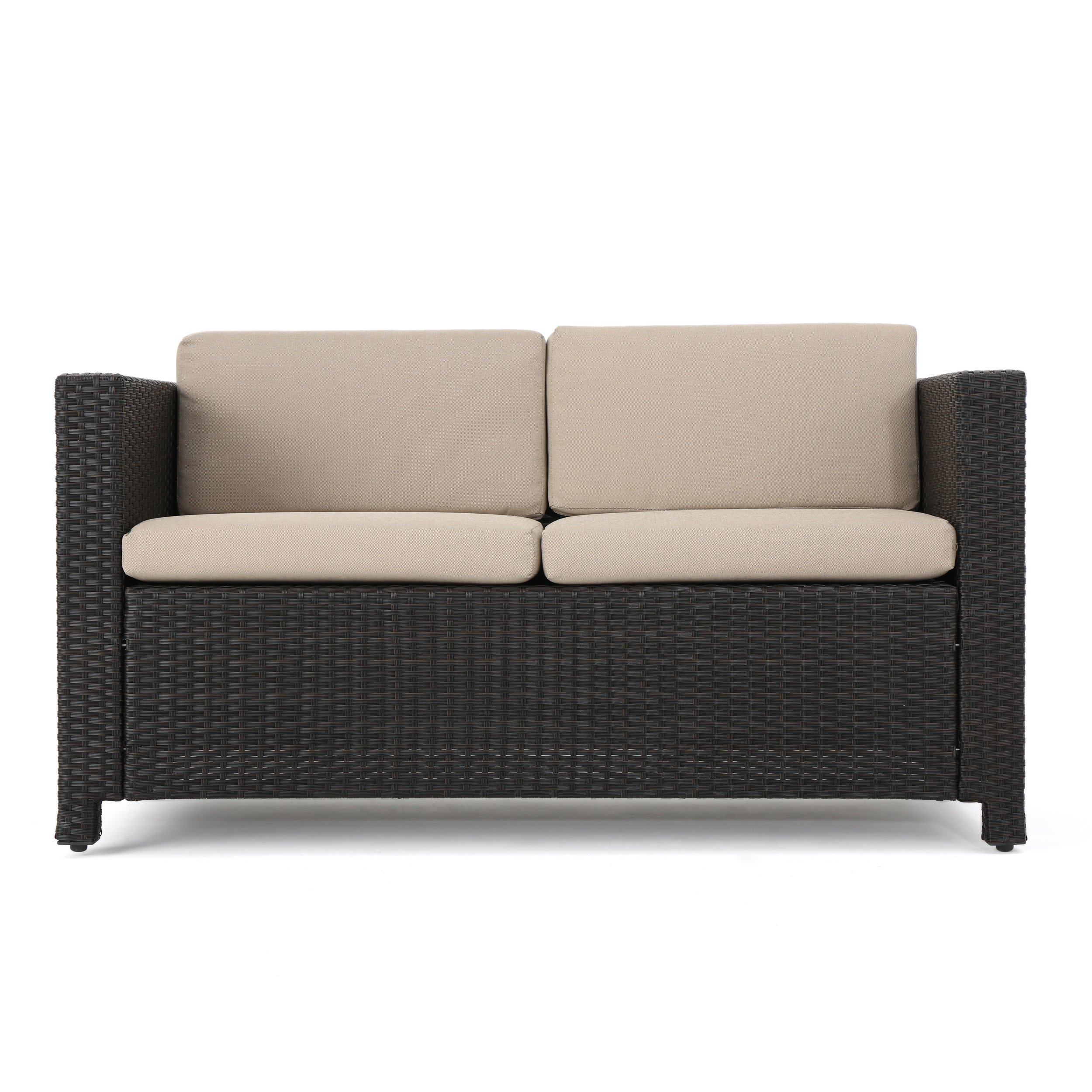 Great Deal Furniture Lorelei Outdoor Wicker Loveseat with Cushions, Brown and Ceramic Grey