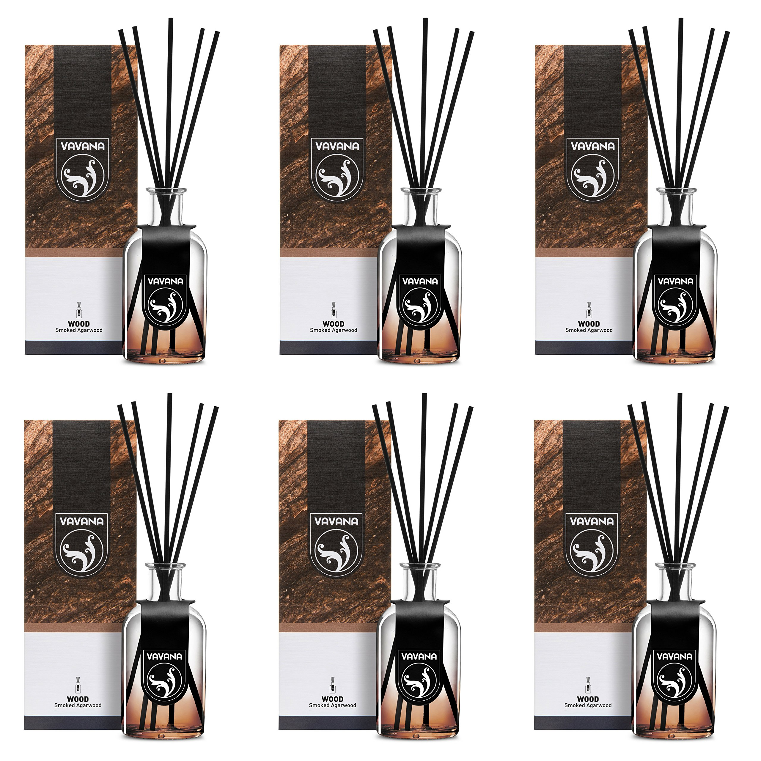 VAVANA Aromatherapy Diffuser Sticks | Reed Diffuser Set | Aromatic Home Fragrance Set | Essential Oil Diffuser Sticks, Made of Natural Scented Oils Blend | 100 ML/3.4 OZ - 6 Pack (Smoked A.Wood)
