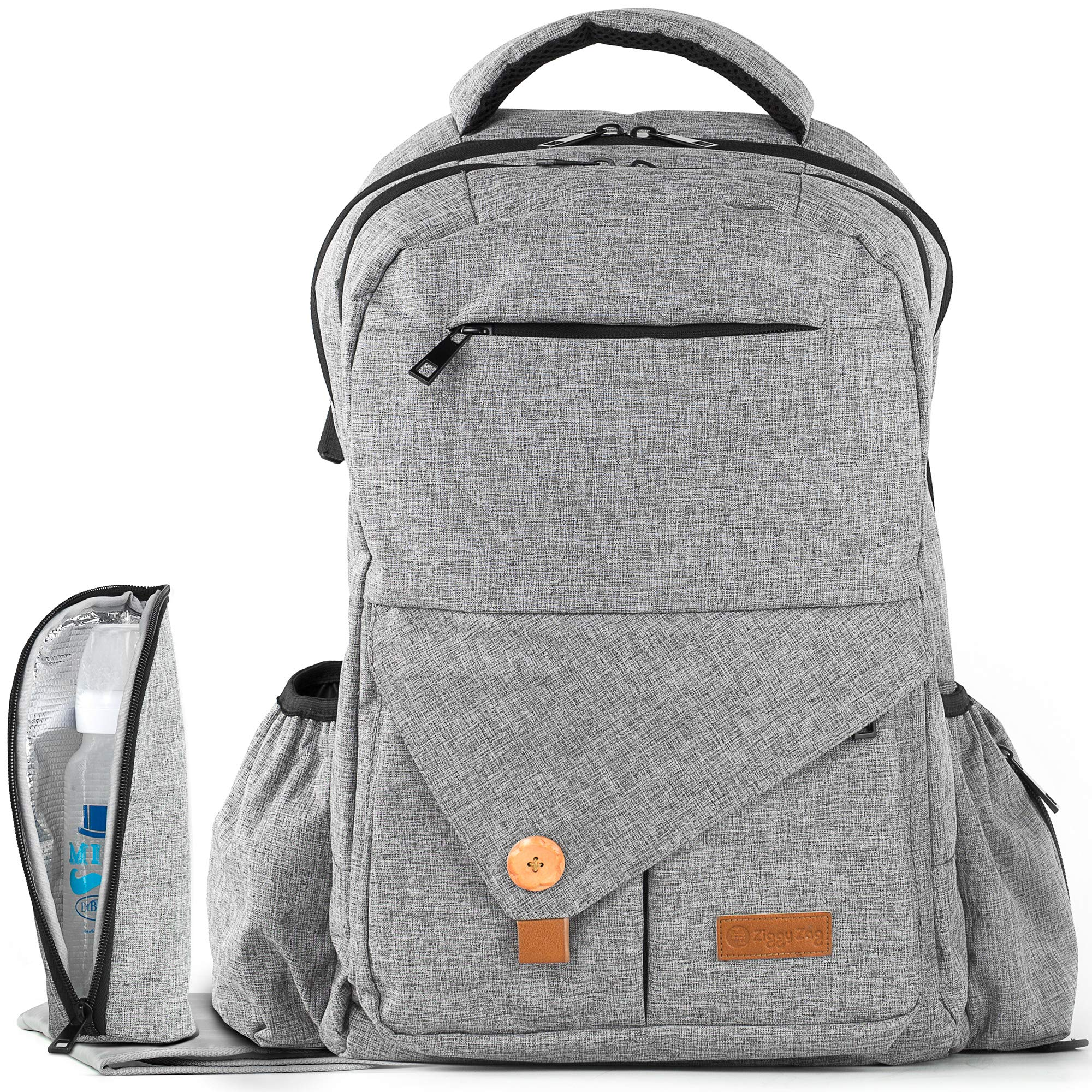 Diaper Bag Backpack | Easy Travel for Active Parents | Max Durability & Storage Capacity | Light Gray Classic Unisex Style | Bonus Change Pad & Insulated Bottle Sleeve | Large Diaper Backpack by ZiggyZag