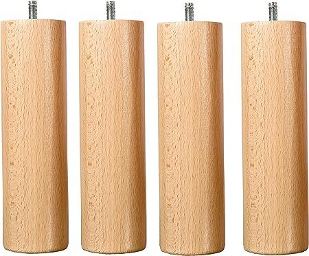 Hévéa Selection - Juego de 4 patas de madera de haya natural, altura 15 cm