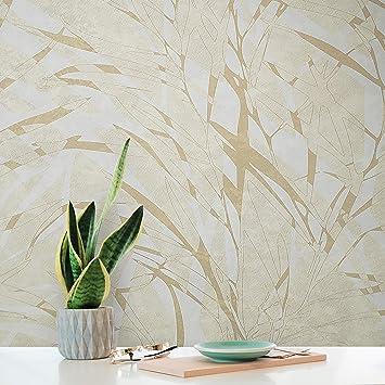 Modern Wallpaper rolls Non-Woven gray beige Gold metallic embossed forest trees