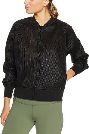 Lorna Jane Women's Off Duty Mesh Bomber Jacket, Black