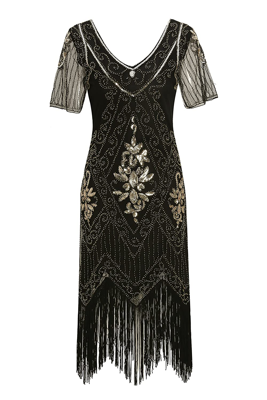 Black+gold Metme Women's Roaring 1920s Gatsby Dresses Short Sleeve Dress Cocktail Flapper Dress