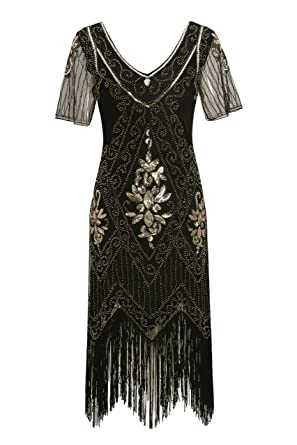 Downton Abbey Inspired Dresses Metme Womens Roaring 1920s Gatsby Dresses Short Sleeve Black Dress Cocktail Flapper Dress $29.99 AT vintagedancer.com