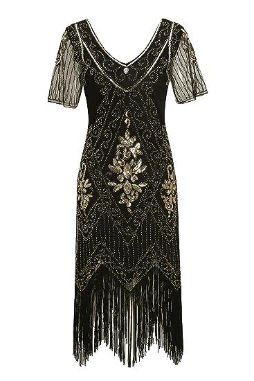 Metme Womens Roaring 1920s Gatsby Dresses Short Sleeve Black Dress