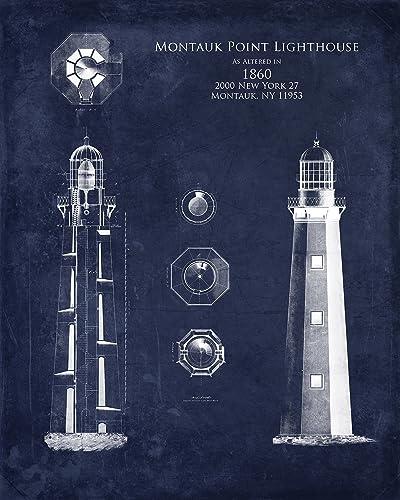 Amazon montauk point lighthouse blueprint art handmade montauk point lighthouse blueprint art malvernweather Image collections