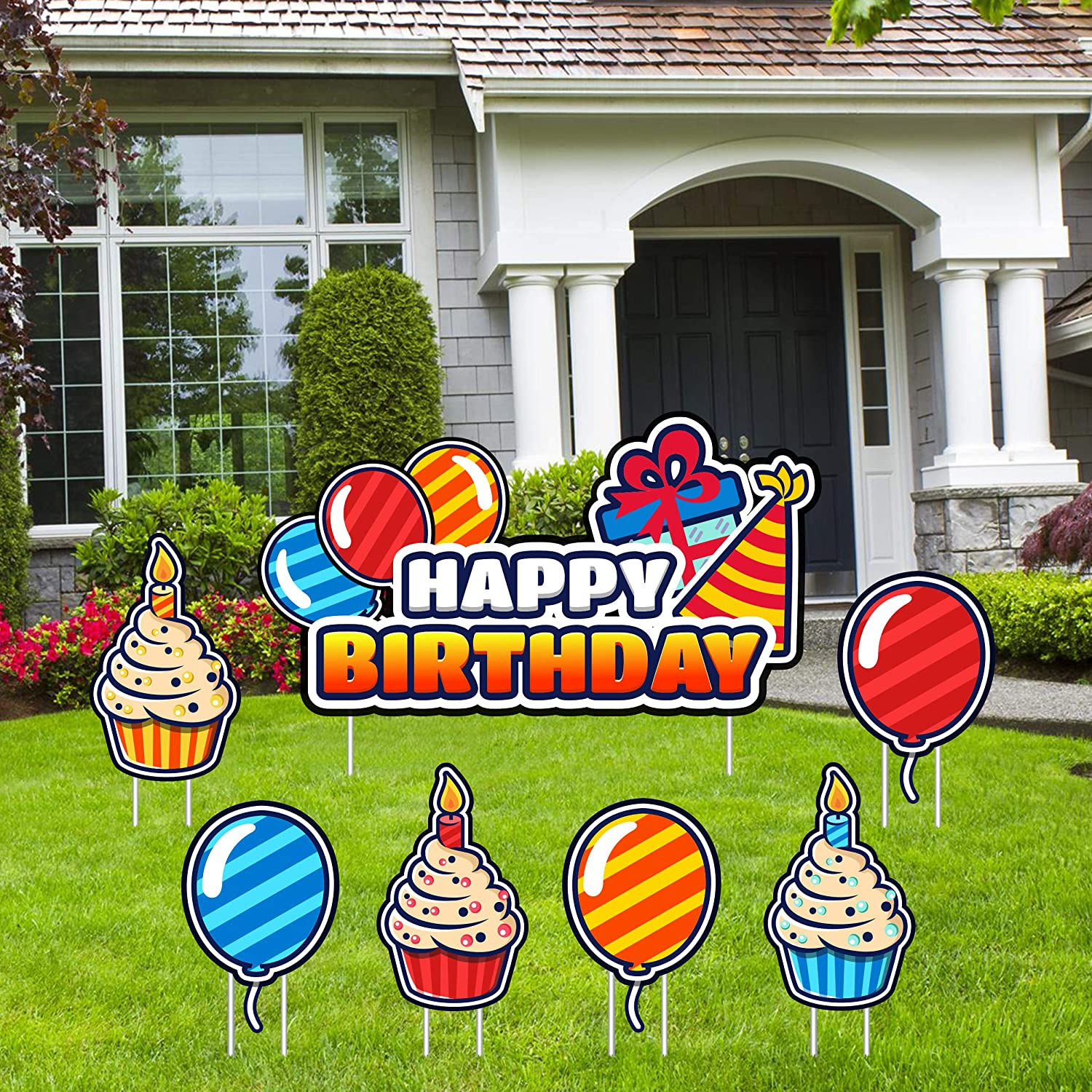 Amazon Com Y2 Happy Birthday Yard Signs With Stakes Happy Birthday Decorations For Boys Girls Kids Or Adults Premium Waterproof Set Includes Happy Birthday Lawn Sign 3 Cupcakes 3 Balloons