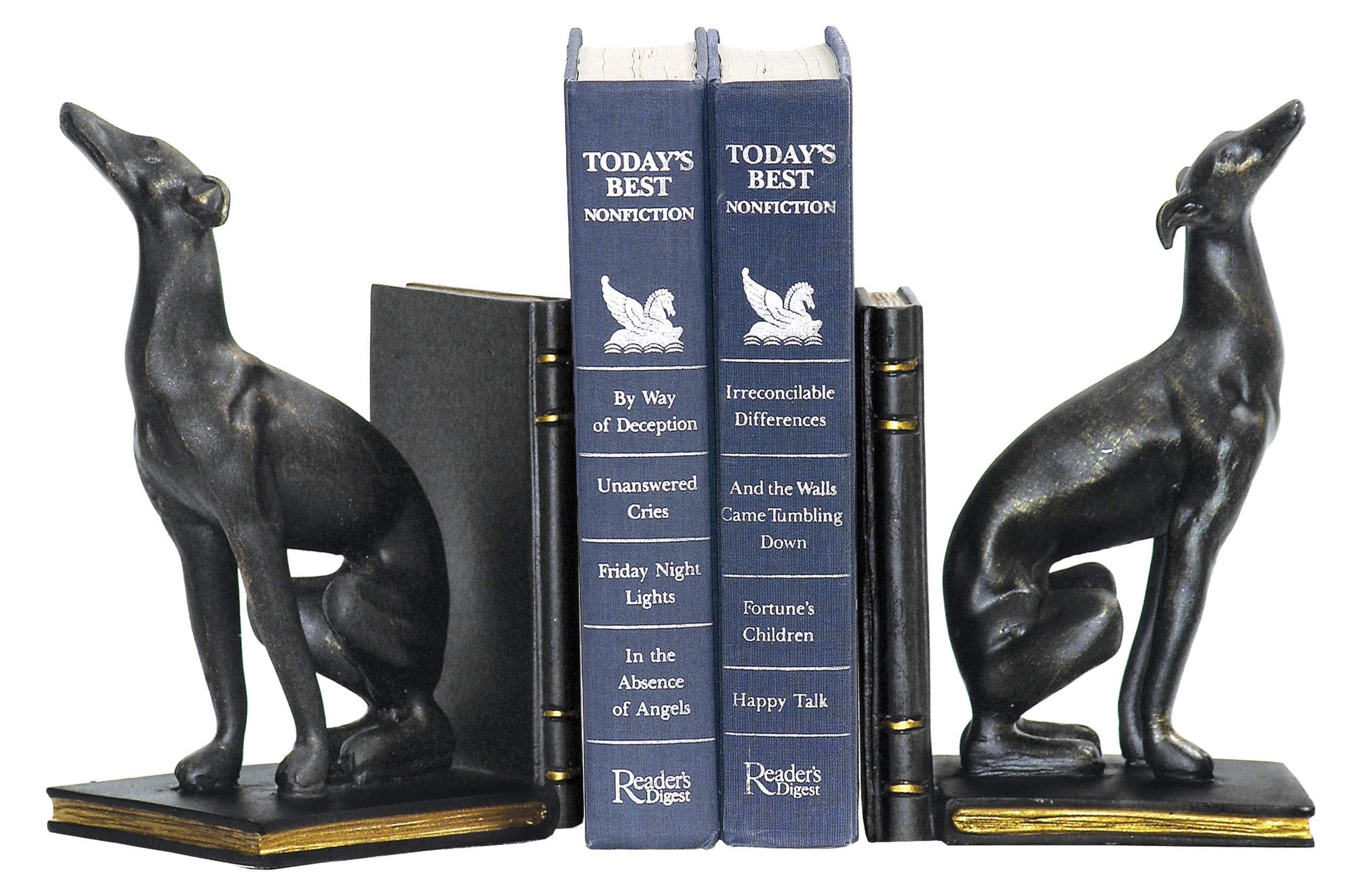 Sterling Pair of Greyhound Bookends, Black