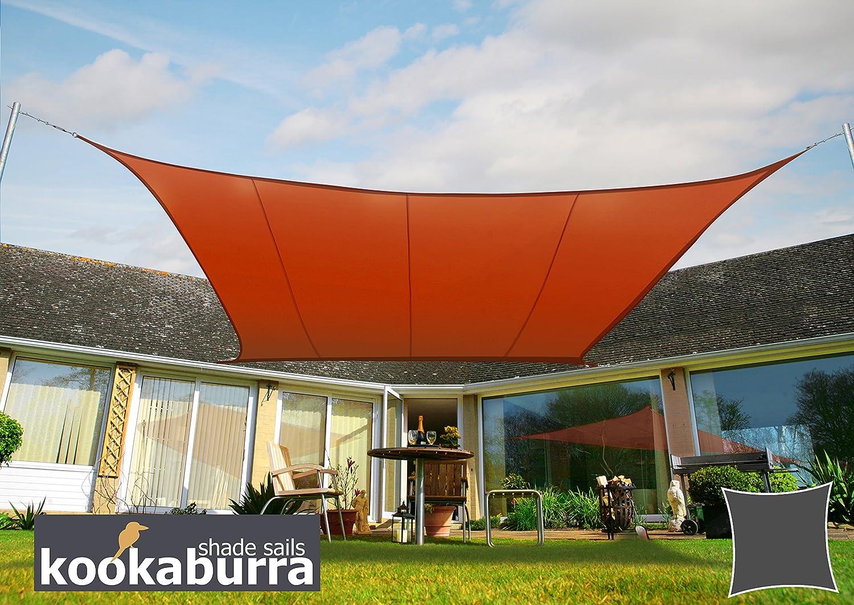 2m Square Kookaburra Waterproof Garden Sun Shade Sail Canopy in Terracotta 98/% UV Block