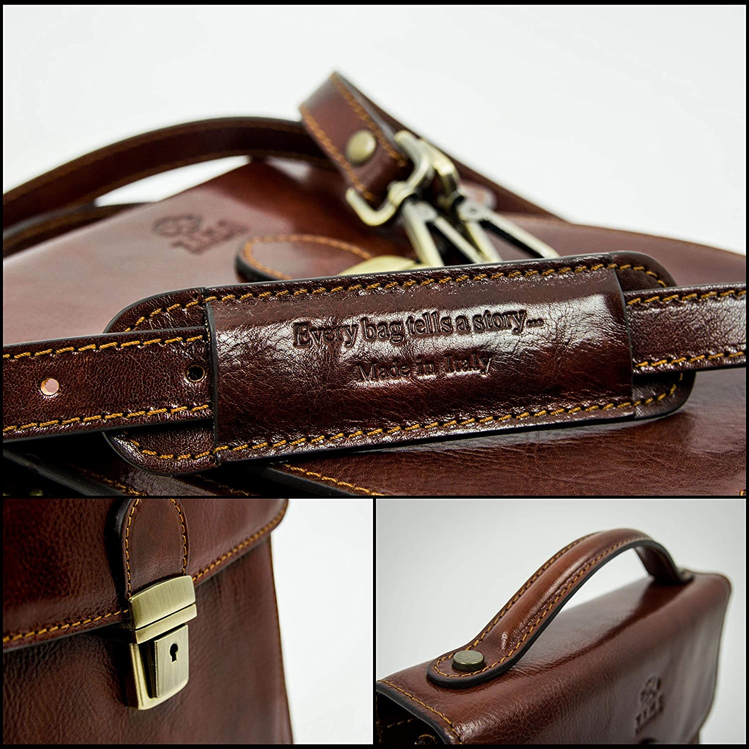 Time Resistance Leather Small Briefcase for Men Brown