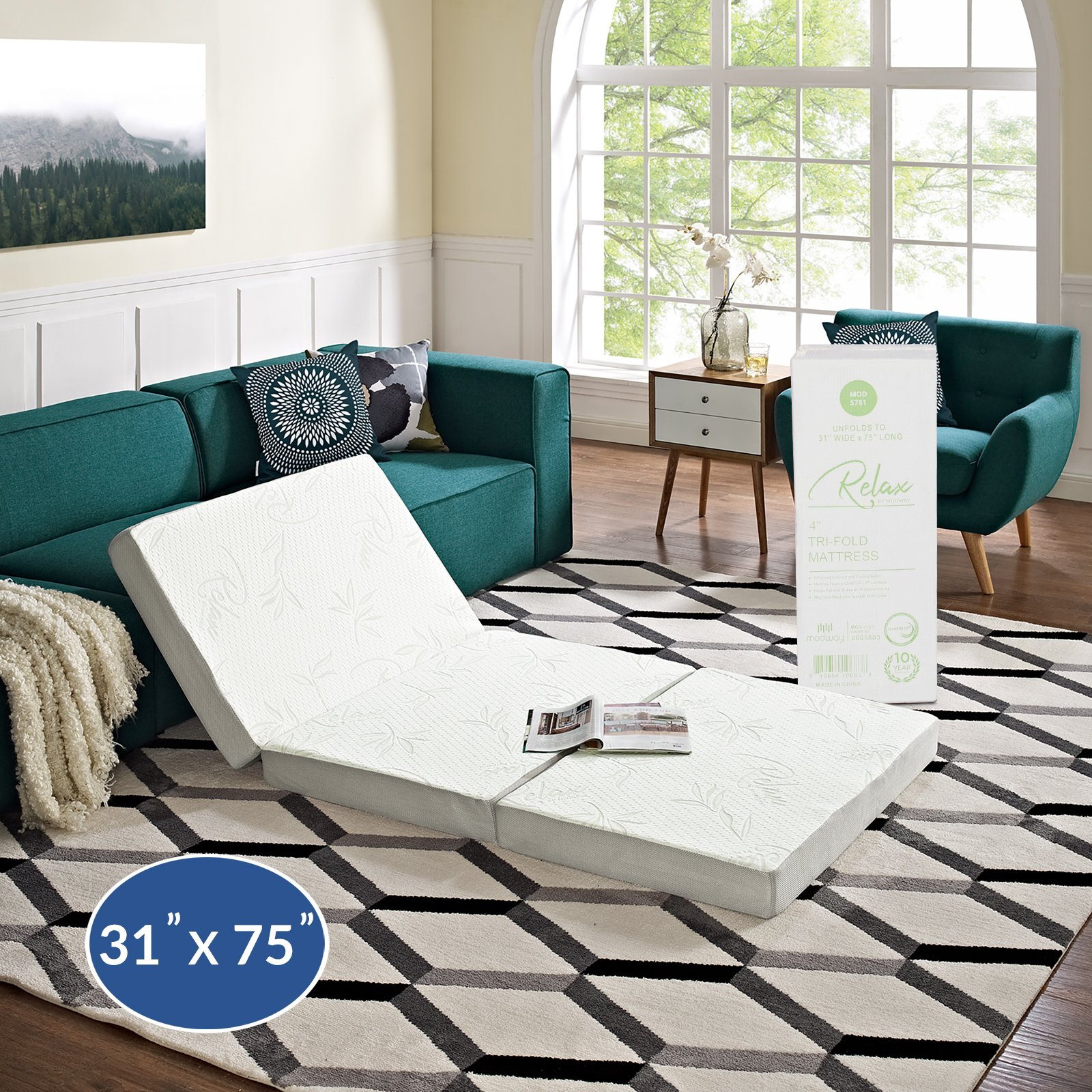 """Modway 4"""" Relax Tri-Fold Mattress CertiPUR-US Certified with Soft Removable Cover and Non-Slip Bottom (31'' x 75"""") - 10-Year Warranty"""