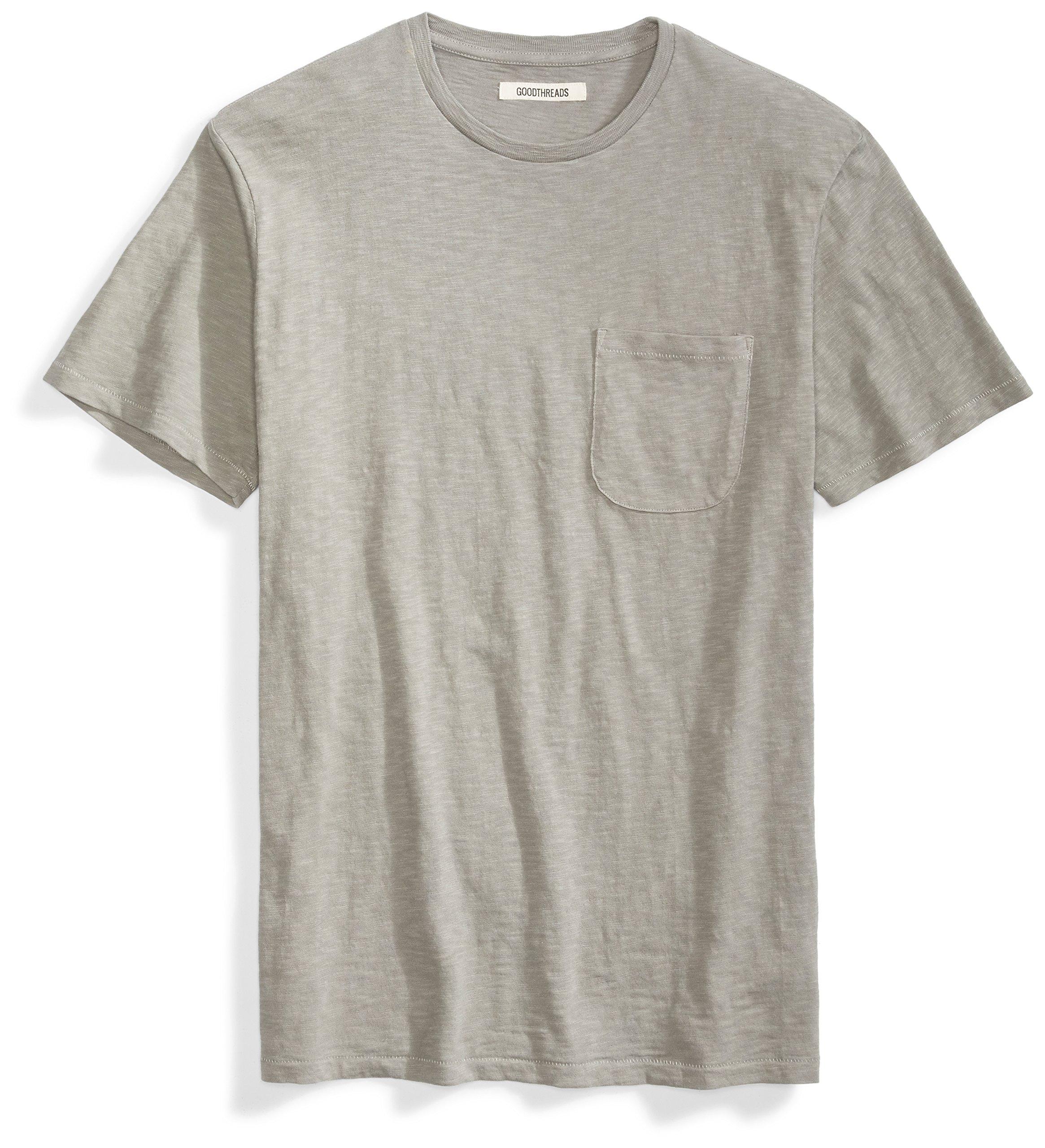Goodthreads Men's Short-Sleeve Crewneck Slub Pocket T-Shirt, Castle Rock/Grey, Medium