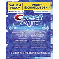 CREST 3D White, Whitening Toothpaste Arctic Fresh, Pack of 4, 65 Milliliters