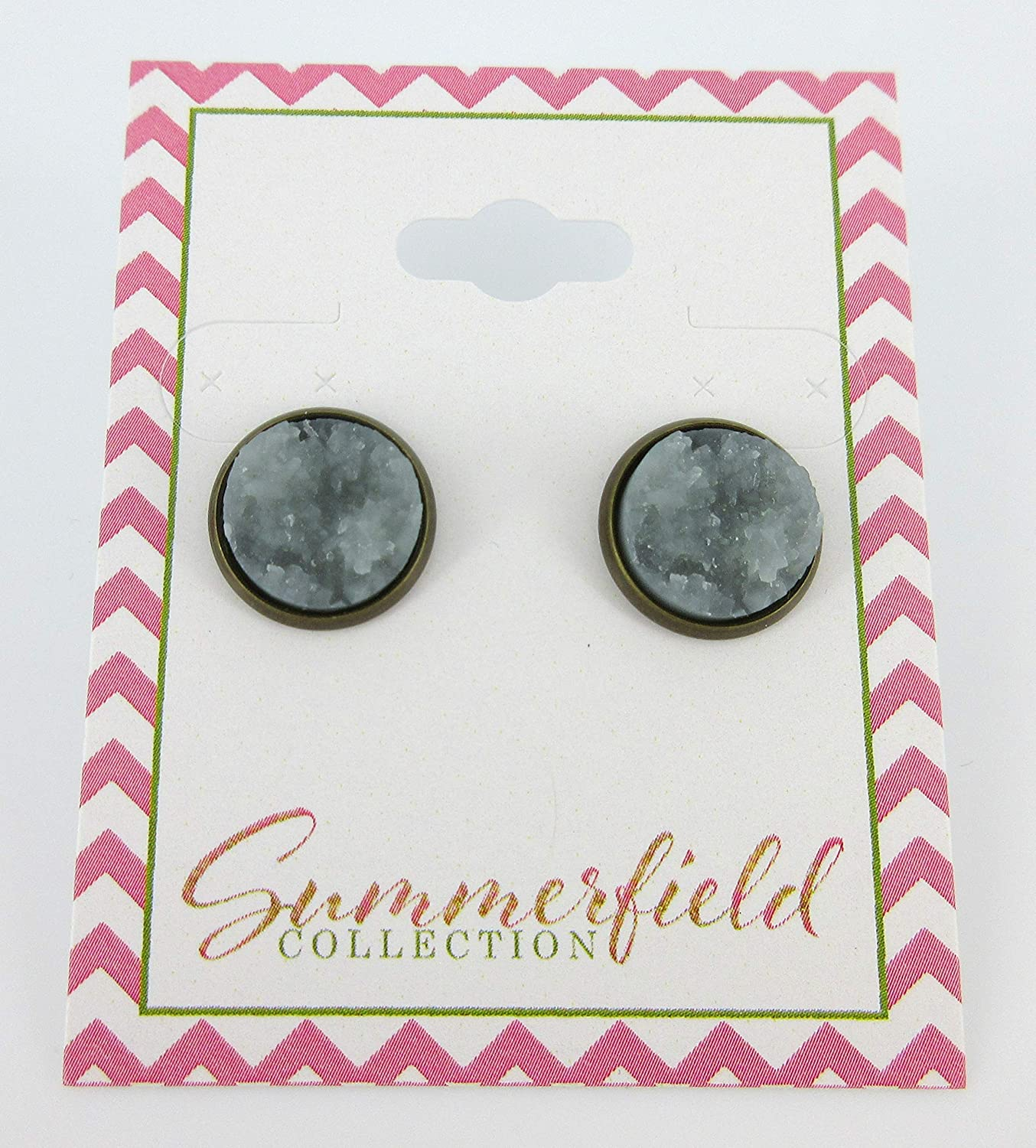 Silver-tone Gold and Pink Faux Druzy Stone Stud Earrings 12mm
