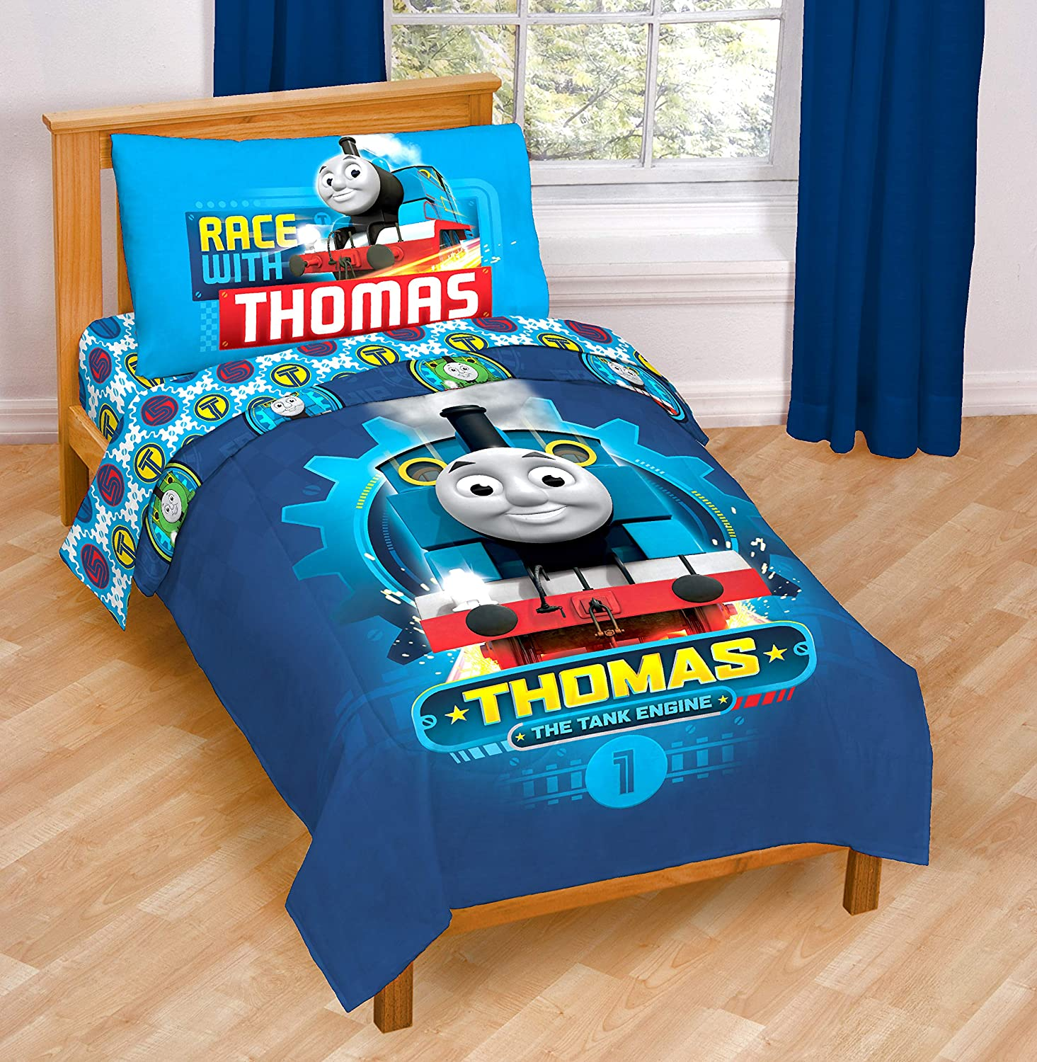 Nickelodeon Thomas & Friends The Tank Engine Race Friends 4 Piece Toddler Bed Set – Super Soft Microfiber Bed Set Includes Toddler Size Comforter & Sheet Set (Official Nickelodeon Product)